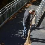 Una persona che raccoglie foglie per terra