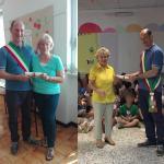 L'assessore Valerio Bianchi assieme alla maestra Anna Maria Pescaglini e alla bidella Albina Giusti