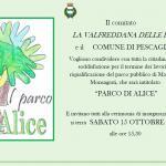 Invito inaugurazione del Parco di Alice