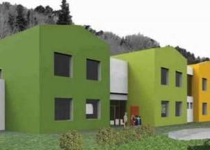 Rendering nuovo polo scolastico di Monsagrati