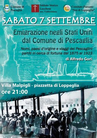 Locandina conferenza sull'emigrazione a Loppeglia
